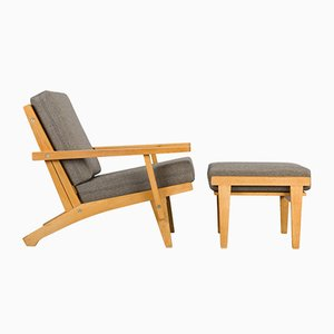 Danish GE370 Oak Armchair & Ottoman by Hans J. Wegner for Getama, 1960s