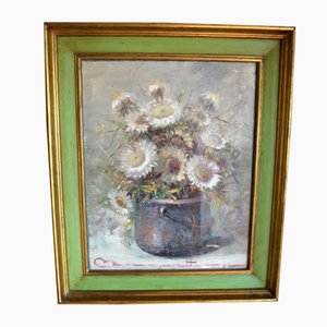 Italian Oil on Canvas Thistles Painting by Ettore Berrone, 1980s