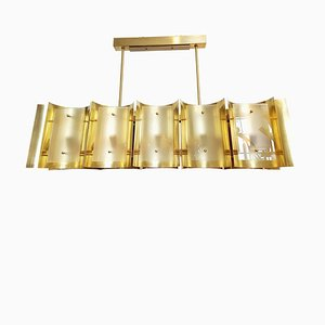 Large Italian Brass and Frosted Glass Chandelier, 1960s