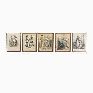 Antike französische Modeposter, 1884, 5er Set