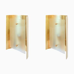 Italian Brass & Frosted Glass Sconces, 1960s, Set of 2