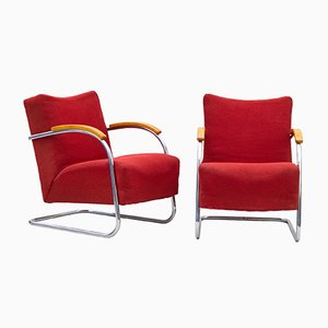 Art Deco Tubular Steel FN 21 Armchairs from Mücke Melder, 1930s, Set of 2