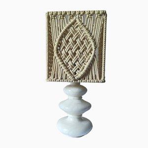 Moderne französische Tischlampe aus Alabaster & Seil im skandinavischen Design, 1960er