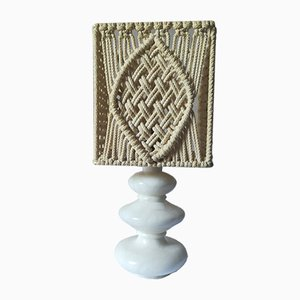 Scandinavian Modern French Alabaster and Rope Table Lamp, 1960s