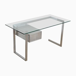Vintage French Glass Desk by Paul Legeard, 1970s