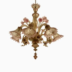 Lámpara de araña grande de cristal de Murano, años 50