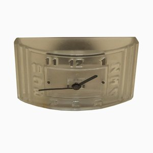 Französische Art Deco Uhr aus Eisen & Pressglas von Hatot Léon, 1930er