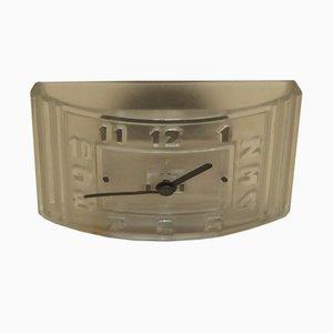 Reloj francés Art Déco de hierro y vidrio prensado de Hatot Léon, años 30