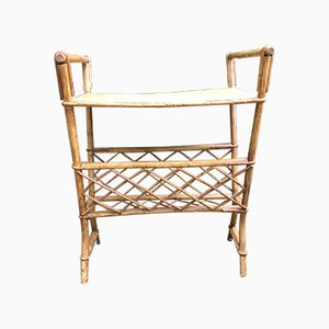 Mid-Century French Rattan Side Table, 1960s