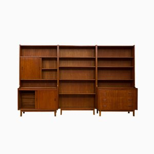 Vintage Danish Teak 3-Part Wall Unit, 1970s