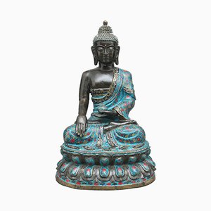 Large Antique Bronze & Cloisonné Buddha, 1820s