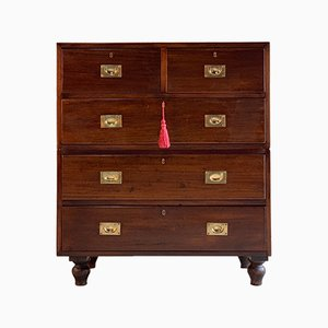 Antique Teak Military Dresser, 1890s