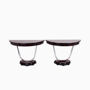 Art Deco French Chrome Plating & Macassar Ebony Console Tables, 1920s, Set of 2