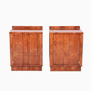 Art Deco Elm Veneered & Mirrored Cabinets, 1920s, Set of 2