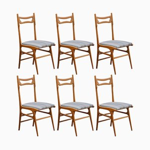 Mid-Century Italian Beech Dining Chairs, 1950s, Set of 6