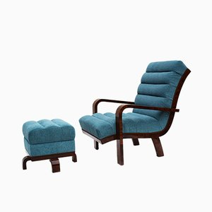 Art Deco Fabric, Lacquer & Walnut Lounge Chair with Ottoman, 1920s