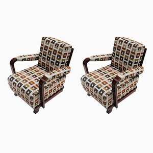Art Deco Fabric, Lacquer & Walnut Armchairs by Jan Vaněk, 1920s, Set of 2