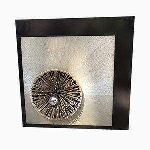 Aplique italiano radiante de aluminio y ébano de Otello Ciulinni para Viareggo, años 70