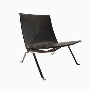 Danish Leather PK22 Chairs by Poul Kjærholm for Fritz Hansen, 1980s, Set of 2