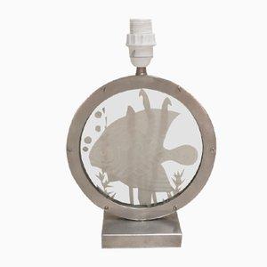 Lámpara de mesa francesa Art Déco de latón y níquel de Kaza, años 30