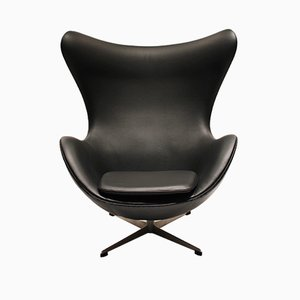 Model 3316 Egg Leather Lounge Chair by Arne Jacobsen for Fritz Hansen, 1960s