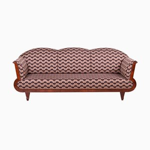 Art Deco Fabric, Lacquer & Walnut Sofa, 1920s