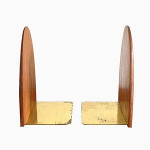 Sujetalibros escandinavos vintage de teca, años 60. Juego de 2
