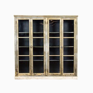 Antique Rustic French Glass and Wood Showcase Cabinet
