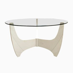 Scandinavian Modern Glass and Compressed Wood Coffee Table, 1960s