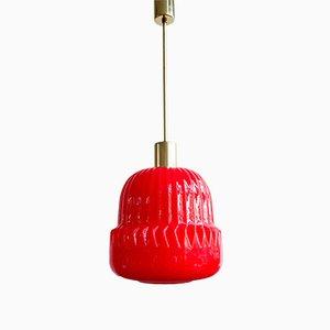 Lámpara de techo checa era espacial de metal y vidrio opalino, años 70