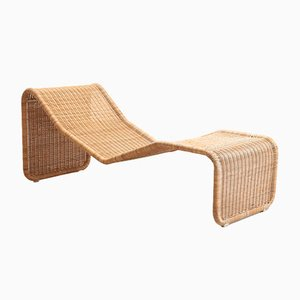 Vintage Rattan Chaise Lounge by Tito Agnoli for Pierantonio Bonacina, 1960s