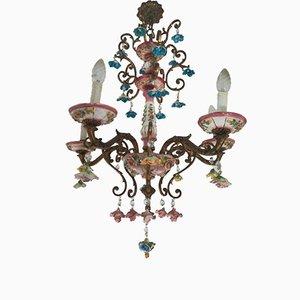 Barocker italienischer Kronleuchter aus Messing & Keramik von Capodimonte, 1930er