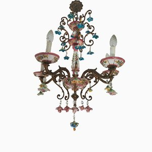 Italian Brass and Ceramic Baroque Chandelier from Capodimonte, 1930s