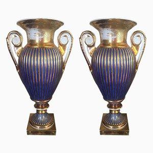 Antike französische Porzellanvasen von Porcelaine de Paris, 2er Set
