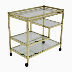 Italian Brass and Gold Plating Trolley by Romeo Rega, 1970s