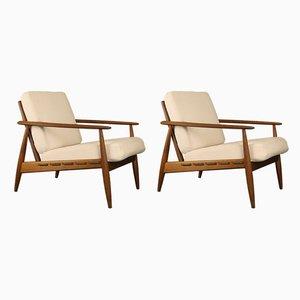 Scandinavian Teak & Linen Lounge Chairs, 1960s, Set of 2
