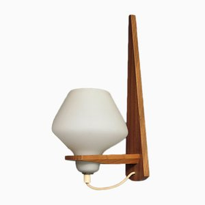 Mid-Century Danish Opaline Glass and Teak Sconce, 1950s