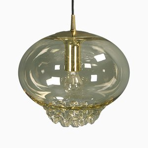 Brutalist Icicle Brass & Smoked Glass Ceiling Lamp from Peill & Putzler, 1970s