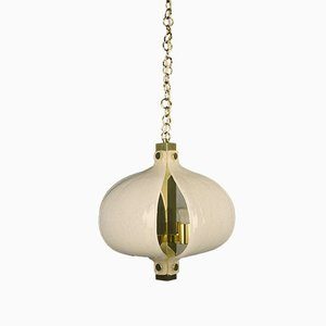 German Brass & Murano Glass Ceiling Lamp from Kaiser Idell / Kaiser Leuchten, 1970s