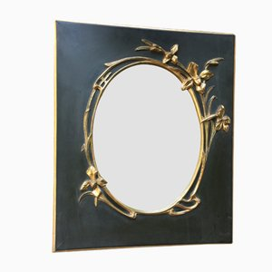 Mid-Century Black and Gold Mirror, 1960s