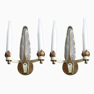 Art Nouveau French Brass & Glass Sconces, 1930s, Set of 2