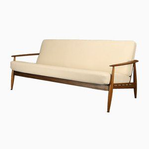 Sofá de tres plazas escandinavo de teca y lino, años 60