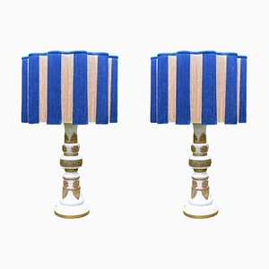 Mid-Century French Ceramic Table Lamps, 1960s, Set of 2