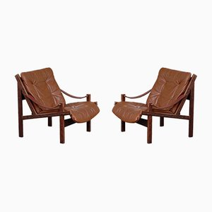Model Hunter Leather Easy Chairs by Torbjørn Afdal for Bruksbo, 1960s, Set of 2
