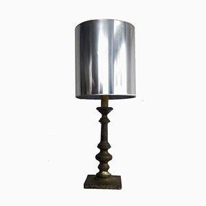 Lámpara de mesa vintage plateada, años 60