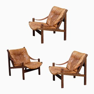 Leather Hunter Chairs by Torbjørn Afdal for Bruksbo, 1960s, Set of 3