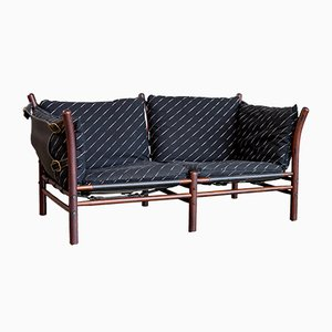 Vintage Brass and Leather Sofa by Arne Norell for Arne Norell AB, 1960s