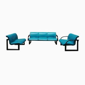 Leatherette and Steel Sofa Set, 1980s