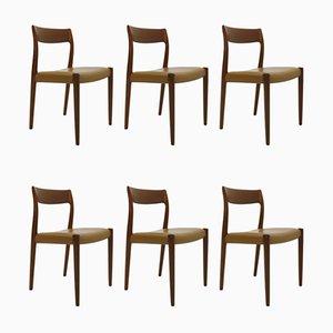 Dänische Mid-Century Esszimmerstühle mit Sitz aus Leder & Gestell aus Teak von Niels Otto Møller, 1960er, 6er Set