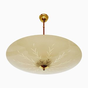 Mid-Century German Brass and Cut Glass Ceiling Lamp, 1950s